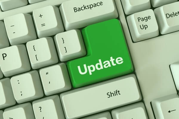 Keyboard with an 'Update' button
