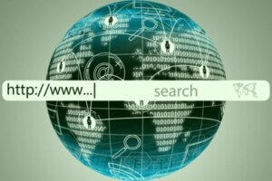 "Text ""https://www..."" and ""search"" inside of a URL search bar that is imposed on top of a globe"